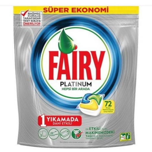 تصویر قرص ماشین ظرفشویی فیری مدل PLATINUM بسته 72 عددی ا Fairy Dishwasher Platinum 72 tab Fairy Dishwasher Platinum 72 tab