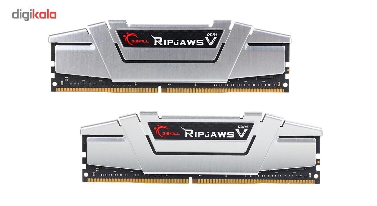 img رم دسکتاپ DDR4 دو کاناله 3200 مگاهرتز CL16 جی اسکیل سری Ripjaws V ظرفیت 16 گیگابایت G.SKILL Ripjaws V 3200MHz CL16 Dual Channel Desktop RAM - 16GB