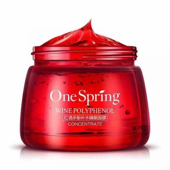 تصویر ماسک مرطوب کننده شب شراب قرمز وان اسپرینگ one spring sleep mask