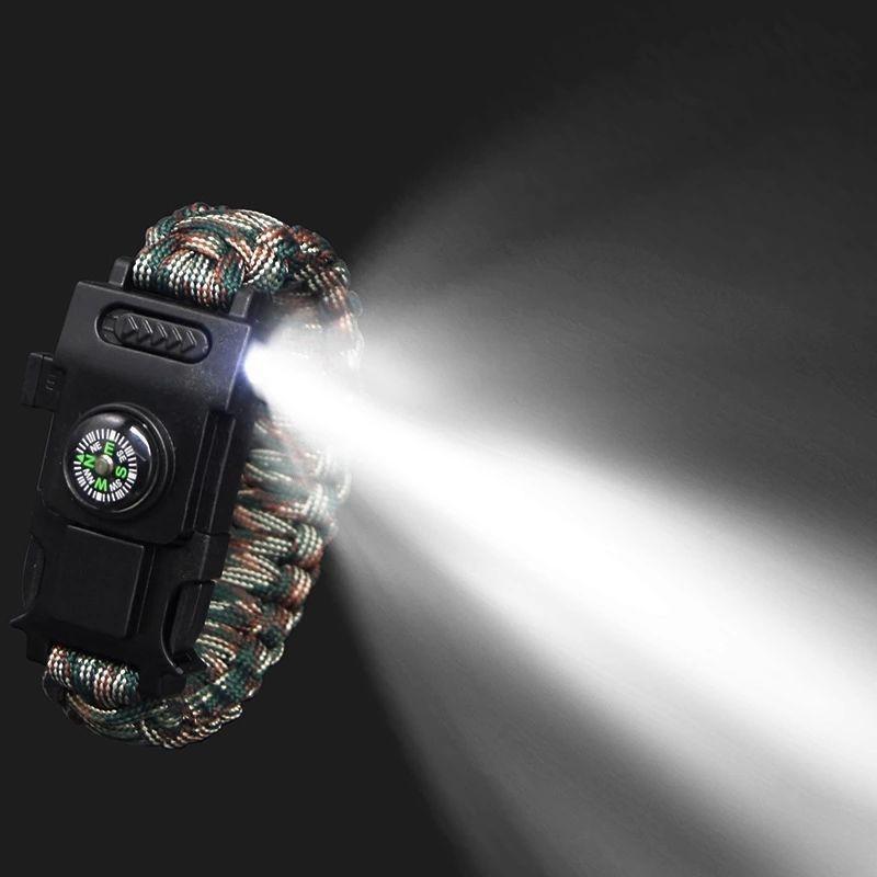 تصویر دستبند پاراکورد چاقو و چراغ بغل
