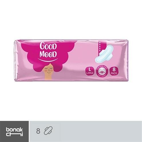 تصویر پد بهداشتی بالدار پنبهای و ضخیم گودمود -  8 عددی     نوار بهداشتی سایز بزرگ good mood Cotton sanitary napkin and thick pink - 8 pcs
