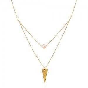 گردنبند دولایه با پلاک مثلث و مروارید | گردنبند طلا زنانه دو لایه با مروارید کد xn142