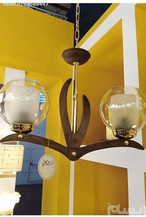 لوستر مدرن چوبی | آویز دوشعله بلوط طلایی