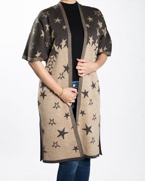 ژاکت بافت زنانه طرح ستاره  