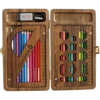 بسته لوازم التحریر چوبی تک مدل 1398 مجموعه 29 عددی