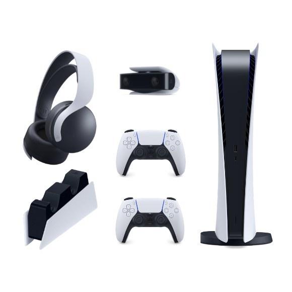 تصویر باندل پلی استیشن ۵ دیجیتال+دسته+شارژر+هدست+دوربین Digital PlayStation 5 bundle+DualSense+Pulse+Charger+Camera