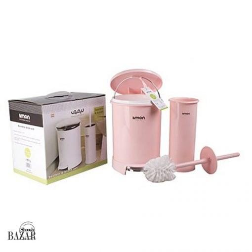 تصویر سطل و فرچه سرویس بهداشتی گرد درب رنگی لیمون