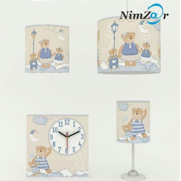 ست ساعت و روشنایی 4 تکه اتاق کودک خرس مادر آبی  مارشال  
