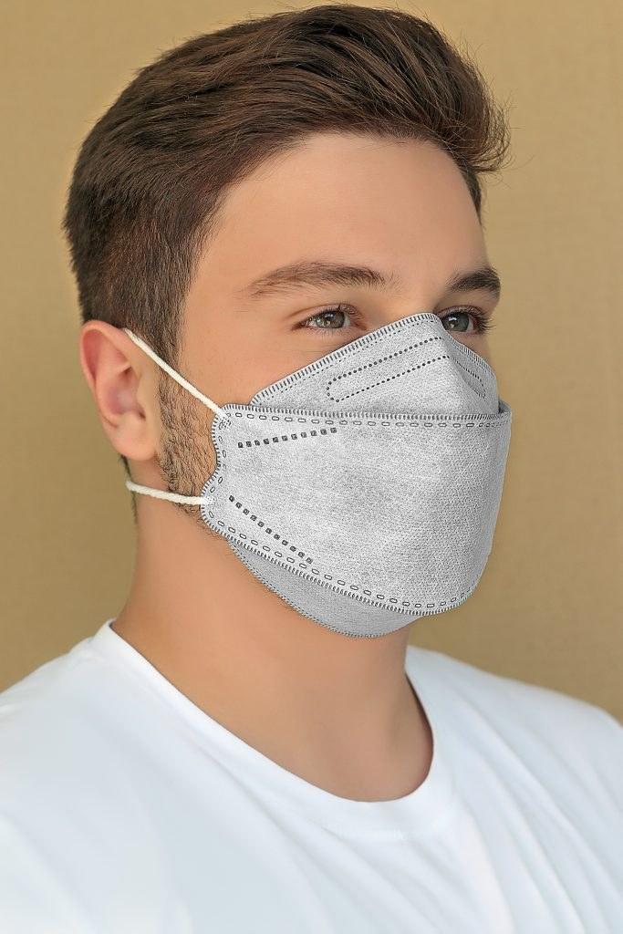 تصویر ماسک سه بعدی طرح کره ای KN95 طوسی بسته ۲۰ عددی