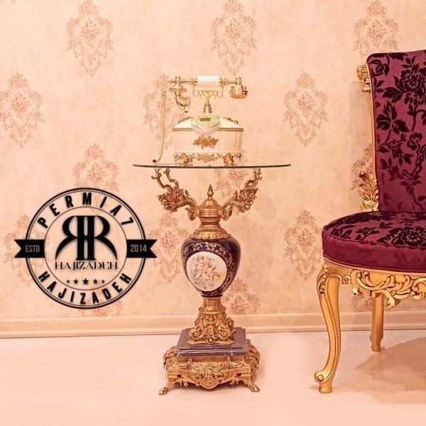 اپادانا میز تلفن و اباژور برنجی پایه خروسی  ستون سرامیک سرمه ای فرشته  5484