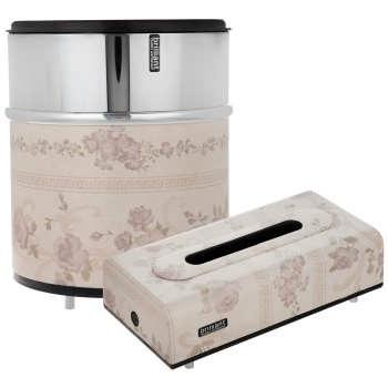 ست سطل و جا دستمال کاغذی برلیانت کد 3-1803 | Billiant 1803-3 Waste Bin And Tissue Box Set
