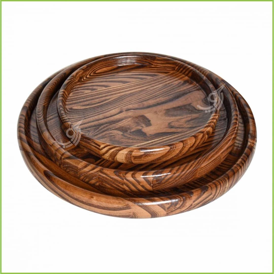 تصویر سینی گرد چوبی قطر ۲۰ کد ۱۰۱۴۲۲