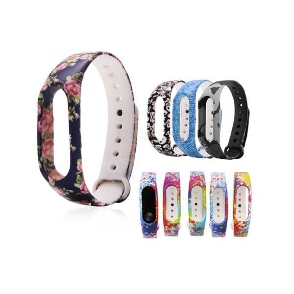 تصویر بند سیلیکونی آبرنگی دستبند سلامتی شیائومی مدل Mi Band 2