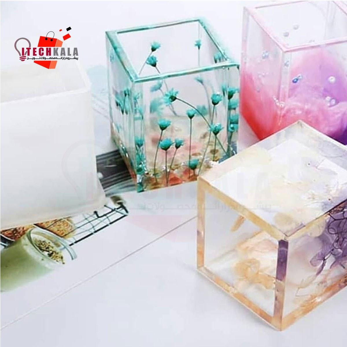 تصویر قالب سیلیکونی گلدان و جاقلمی (مکعب و استوانه)