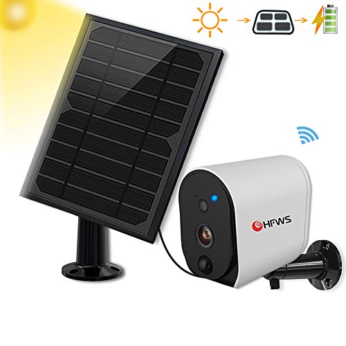 پنل خورشیدی دوربین امنیتی خورشیدی ، سازگار با Alexa و Google Voice فعال ، باتری قابل شارژ 6400mAh که مدت زمان 365 روز در زیر نور آفتاب ، صدا 2 طرفه است ، شامل 32G Card ، HFWS-S3
