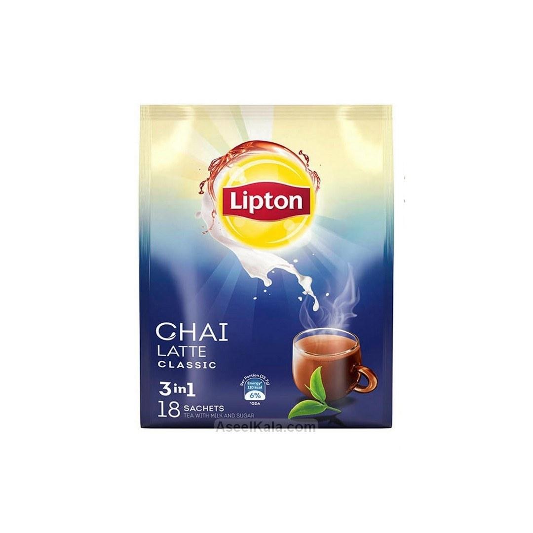 تصویر شیر چای لاته لیپتون LIPTON با طعم ساده بسته ۱۸ عددی