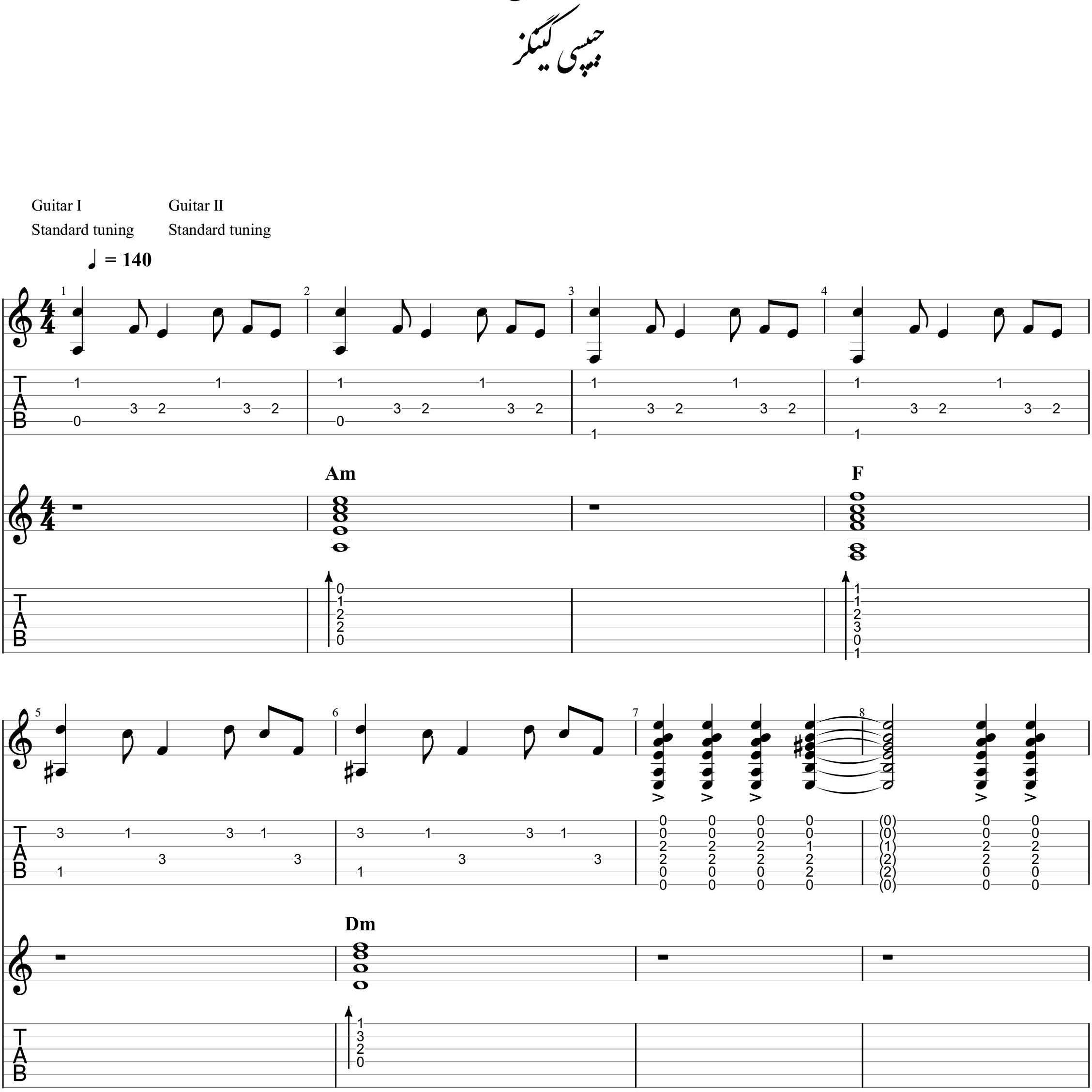 نت و آکورد کامل آهنگ فارائون (pharaon) برای دونوازی گیتار |