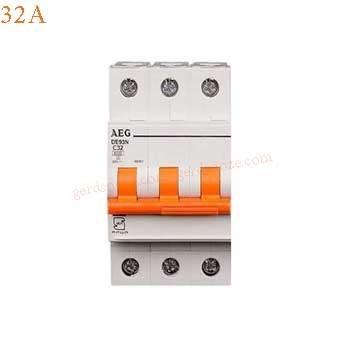 تصویر فیوز مینیاتوری سه فاز 32 آمپر AEG تیپ B Miniature Circuit Breaker 3P 32A AEG