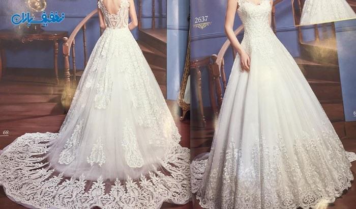 خرید لباس عروس یقه ایستاده پشت V دنباله دار مدل پینار با ارزان ترین قیمت در مزون خانه سفید (White House) با ۵۰% تخفیف و |