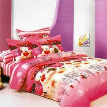 سرویس خواب کودک مدل Pink Bear یک نفره 4 تکه |