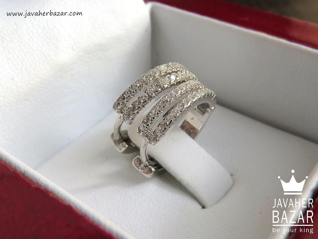 گوشواره نقره حلقه ای میکرو طرح طلا سفید - کد 43194