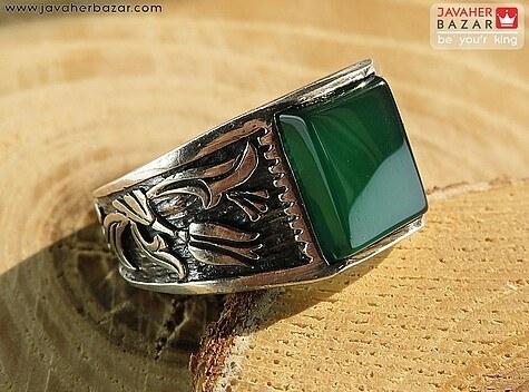 تصویر انگشتر نقره عقیق سبز مردانه - کد 61028
