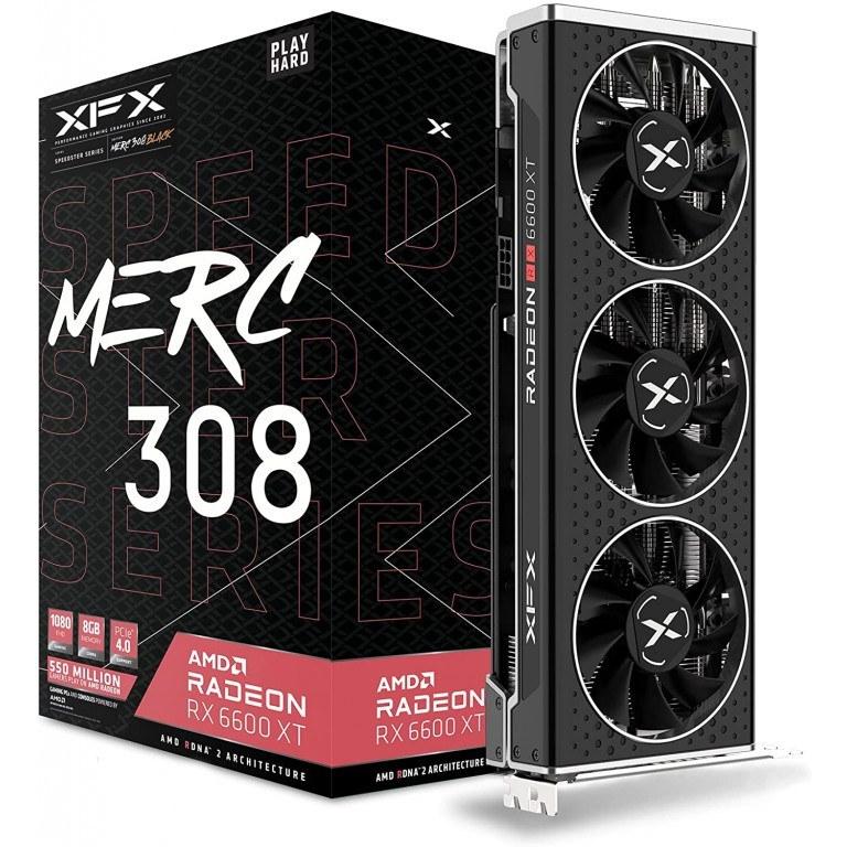 تصویر XFX Speedster MERC308 Radeon RX 6600 XT XFX Speedster MERC308 Radeon RX 6600 XT Black Gaming Graphics Card with 8GB GDDR6 HDMI 3xDP, AMD RDNA 2 RX-66XT8TBDQ