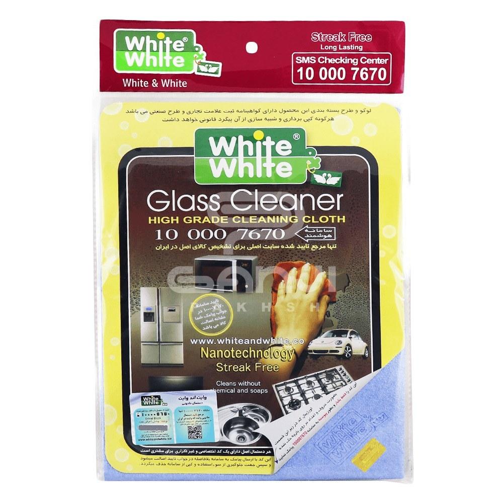 تصویر دستمال جادویی مخصوص آبگیری شیشه و بدنه خودرو رنگ آبی وایت اند وایت-White & White Glass Cleaner
