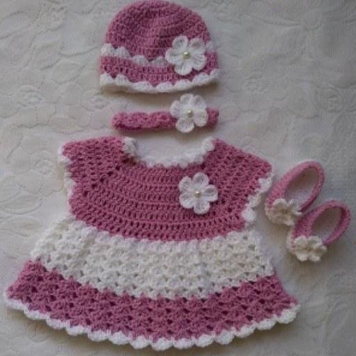 مجموعه لباس نوزاد دخترانه بافتنی
