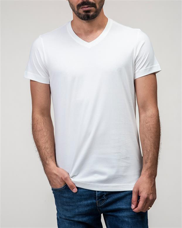 تی شرت مردانه نخی یقه هفت سفید JPA