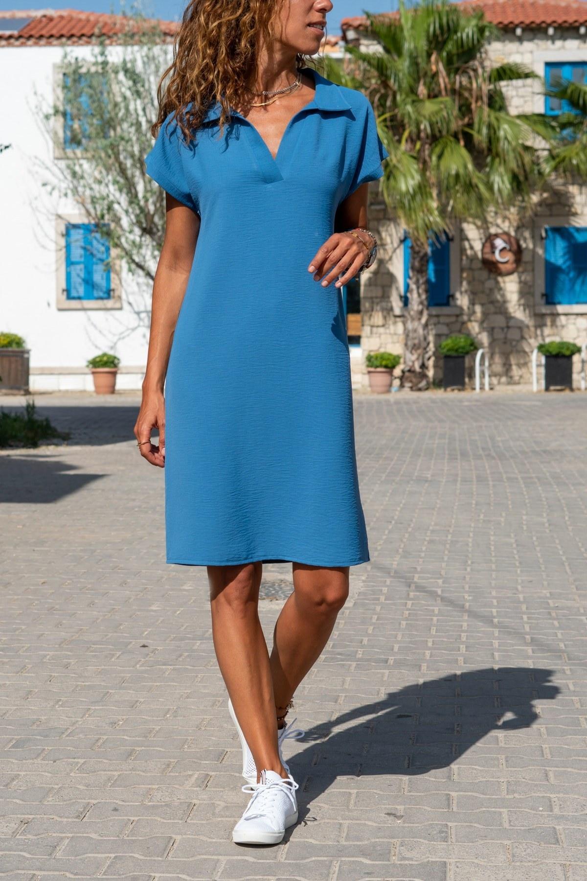 پیراهن زنانه یقه سه دکمه airobin برند Güneşkızı کد 1593243265