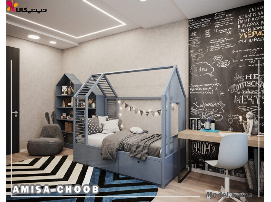تصویر تخت خواب کودک و نوجوان آمیسا مدل ساینا