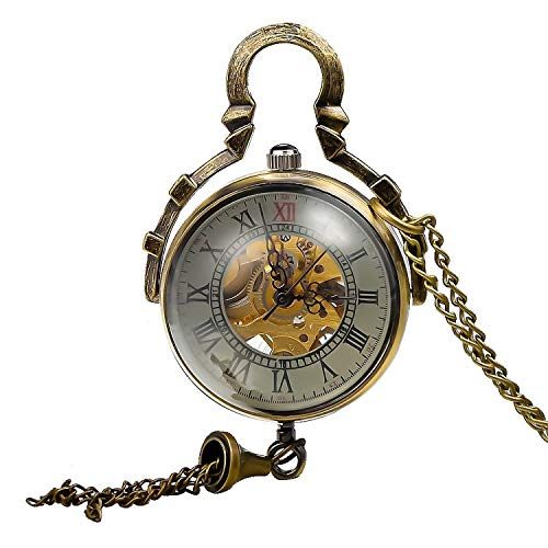 Carrie Hughes Womens Ladies Steampunk Glass Ball Transparent Skeleton Mechanical Pocket Watch with Chain CH199B