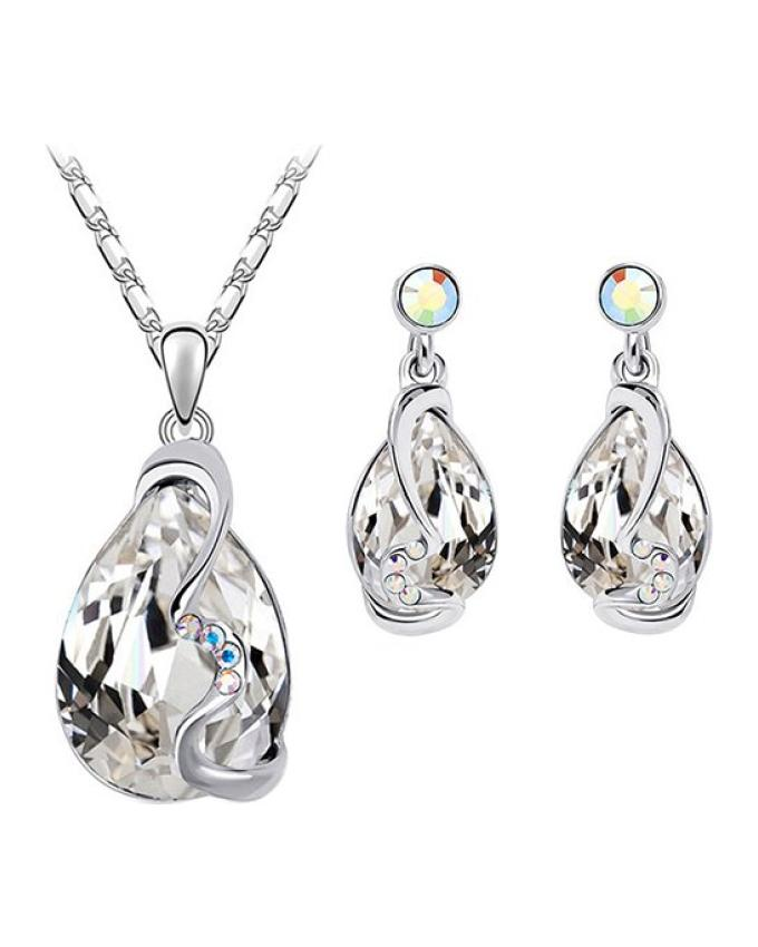 Women Waterdrop Crystal Pendant Inlaid Necklace Earrings Jewelry Set Clear+Silver