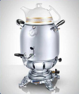 تصویر سماور گازی نوبل مدل کابینیتی با قوری چینی 6 لیتری