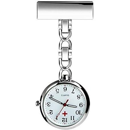 WIOR پرستار Lapel Pin Watch حلق آویز پزشک جیبی ، ساعت مچی پرستاران کوارتز حرکت برای هدیه روز مادران تولد کریسمس