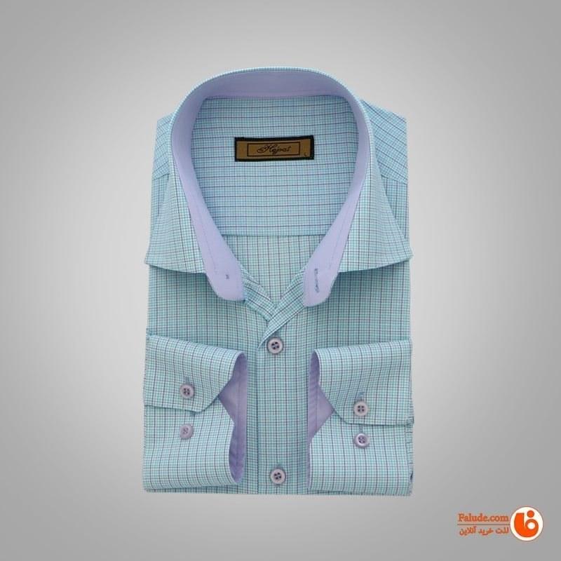 پیراهن چهارخانه تترون مردانه آستین بلند سبز آبی هجرت  