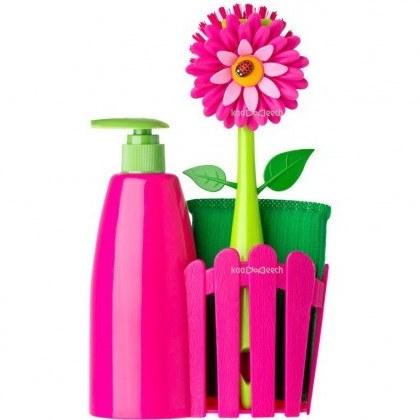 تصویر برس و اسفنج و جا مایع پایه دار گل و کفشدوزک