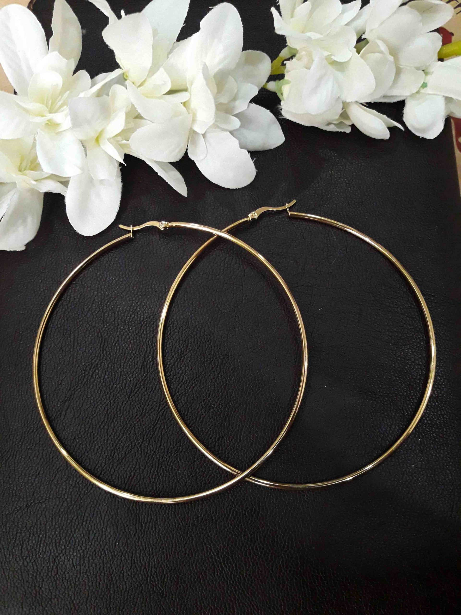 تصویر گوشواره حلقه ای سایز بزرگ طلایی کد b01