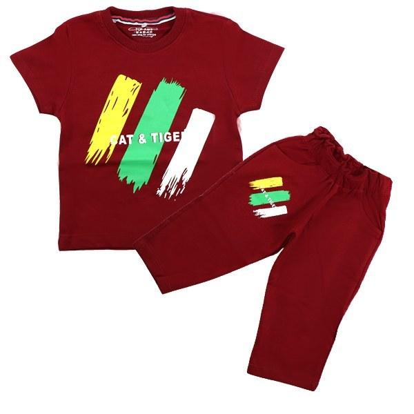 ست تی شرت و شلوارک پسرانه تاپ کیدز طرح گربه و ببر قرمز