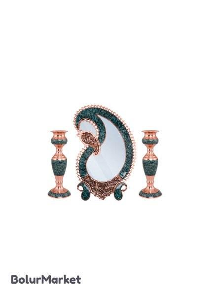 تصویر ست آینه و شمعدان فیروزه کوبی کد ۷۴۲ مجموعه ۳ عددی