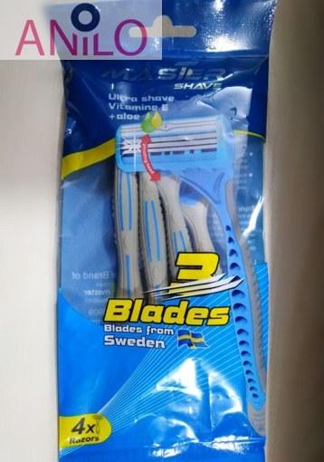 مستر شیو خودتراش 3 لبه 4 عددی مردانه آبی 3 blades