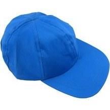 تصویر کلاه نقابدار آفتابگیر کتان آبی و سفید