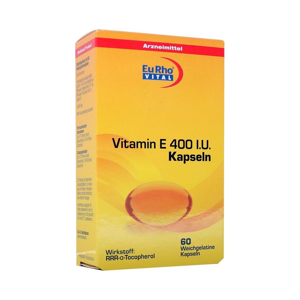 تصویر کپسول ویتامین E 400 یوروویتال ۶۰ عددی EuRho Vital Vitamin E 400 IU 60 Caps