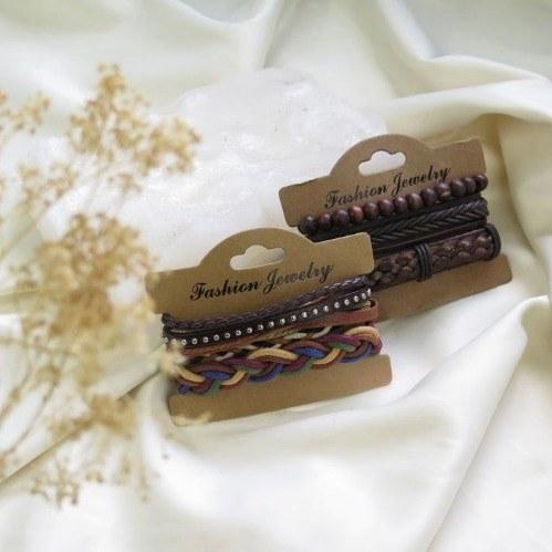 تصویر پک دستبند چرم قهوه ای
