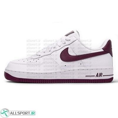 کتانی رانینگ زنانه نایک Nike Air Force 1 '07 White Bordeaux AH0287 105