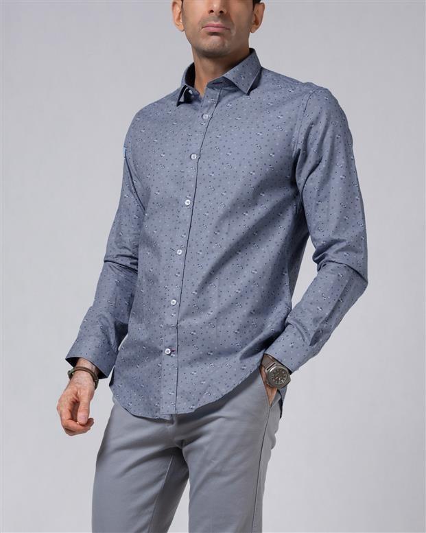 پیراهن مردانه نخی آبی تیره گلدار LRC