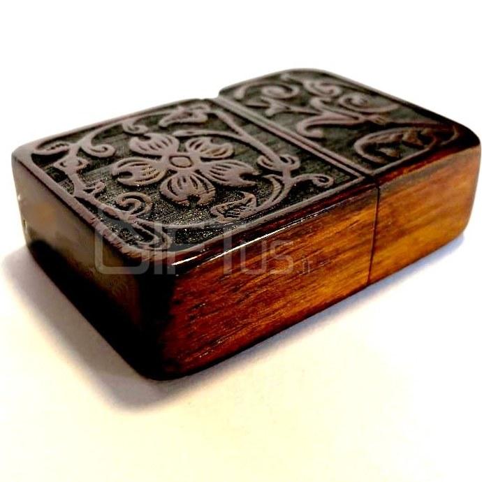 تصویر فندک چوبی طرح وگل