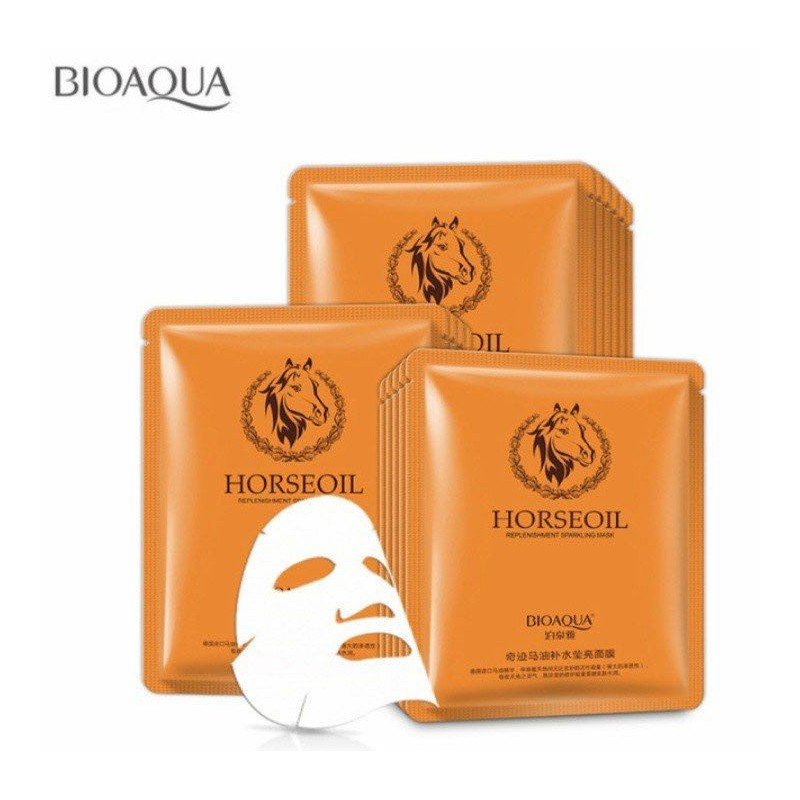 تصویر ماسک ورقه ای روغن اسب بیواکوا - Horse oil Facial Mask