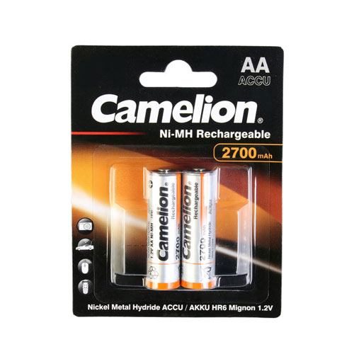 تصویر باتری قلمی قابل شارژ کملیون ظرفیت 2700 میلی آمپر 2 عددی
